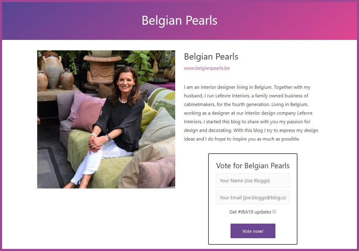 Belgian Pearls Is Nominated Again This Year For The Amara Interior Blog Awards Belgian Pearls